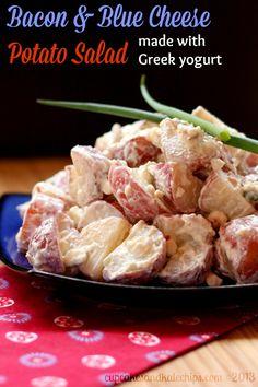 Bacon & Blue Cheese Potato Salad - made with Greek yogurt | cupcakesandkalechips.com | #potatosalad #potatoes
