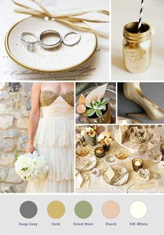 Gold, Peach, and Cream Wedding Colors. I like the golden color and the dried mint. Would be good with burlap and lace