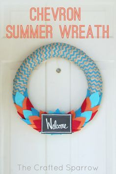 The Crafted Sparrow: Chevron Summer Wreath