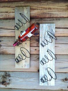 ❤️Wine racks made from bed springs and reclaimed pallet wood http://www.creekwalkerart.com
