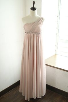 Goddess Chiffon Oblique One Shoulder Pink Full-Length Dress
