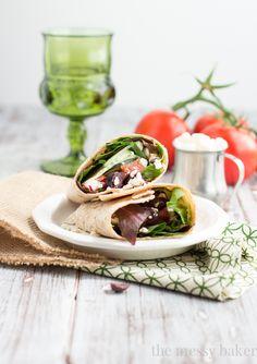 Greek Salad Wrap | www.themessybakerblog.com