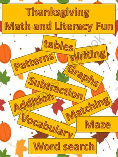 Thanksgiving Math and Literacy Fun Activities from FunTeach on TeachersNotebook.com (20 pages)  - Math and Literacy Fun Activities Based on a Thanksgiving Theme.