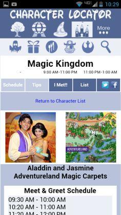 Disney World Character Schedule app