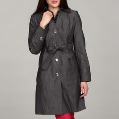 @Overstock - This denim trench coat by Calvin Klein marries fashion and function. The fully-lined construction provides warmth on cool days, and the belted waist, double-stitched seams, and chrome buttons make this jacket an eye-catching outerwear option.http://www.overstock.com/Clothing-Shoes/Calvin-Klein-Womens-Denim-Belted-Button-Front-Coat/6537248/product.html?CID=214117 $42.99 button front, trench coats, denim coat