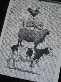 Farm Animal Upcycled Dictionary Art Book Page Cow, Sheep, Pig, Rooster on Vintage Dictionary Book Page Print