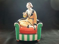Very RARE Noritake Art Deco Lustre Lady Girl on Chair Cigarette Box Trinket Pot | eBay