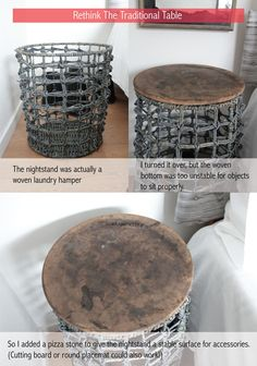 Laundry hamper and pizza stone turned into an end table.