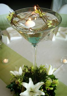 Martini glass centre piece ideas