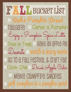 Everyday Love: Making Memories: Fall Bucket List