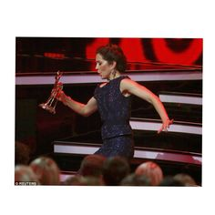 Princess Mary suffered an unfortunate slip as she made her way back from the stage after collecting The Bambi Charity Awards for her social engagement and focus on domestic violence.