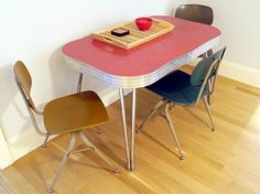 Interior design, decoration, furniture, 1950s diner table, school chairs