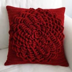 crochet flower pillow cover