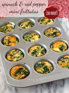 Mini Frittatas with Spinach and Red Pepper -- perfect for brunch! | RachelCooks.com