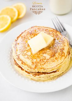 Lemon Ricotta Pancakes - these are so soft and fluffy! Perfect recipe for when you have 1/2 container of ricotta left - save it for weekend breakfast.
