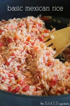 Basic mexican rice from The Baker Upstairs. This rice is super quick and easy, and so flavorful! www.thebakerupstairs.com
