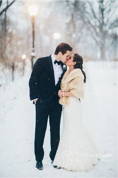 Newlyweds in the snow! Anne Barge gown.