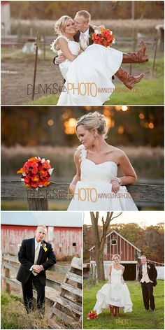 love these wedding photos!!! Kinda looks like all the things we are having at our wedding, him in black while she has on her brown boots and fall colors!