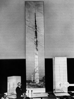 archiveofaffinities:  Frank Lloyd Wright, Reveals the Design for his Mile-High Skyscraper, Chicago, Illinois, 1956