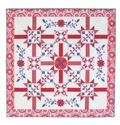 """Symphony and Rhapsody"" quilt, 80 x 80"",  in red,white and blue by Bloom Creek for Connecting Threads.  Piecing, applique, english paper piecing"