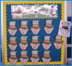 This is a March and St. Patrick's Day bulletin board display featuring students' leprechaun reading sticker charts.