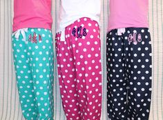 Monogram PJ Pants Polka Dot Flannel  Womens & Girls by shopmemento, $30.00