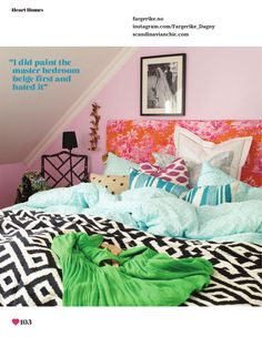Pink bedroom in the Norwegian home of Dagny Thurmann Holder in issue #6 of Heart Home magazine