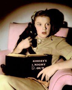 Judy Garland & black cat Halloween picture