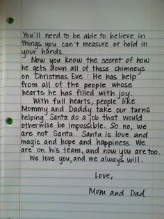 Santa Letter, for when the kids find out.