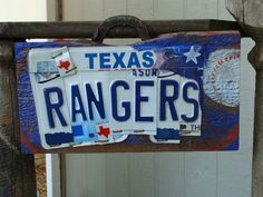 Texas Rangers license plate sign