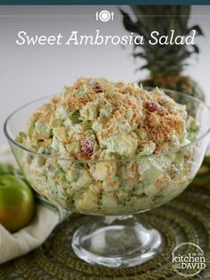 Sweet Ambrosia Salad. recipe from David Venable, QVC Resident Foodie. So cool and refreshing. Definitely will make this.
