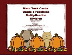 Here's a collection of task cards that will give your students practice in fractions. There are 60 cards in all. 20 are multiplying fractions, 20 are practice in dividing fractions and the last 20 mix the two. An answer key and student worksheets are included. The cards have a fun Fall Theme. Print and you're ready to go-just add to your centers or small groups. Addresses: CCSS.Math.Content.5.NF.B.4 CCSS.Math.Content.5.NF.B.7
