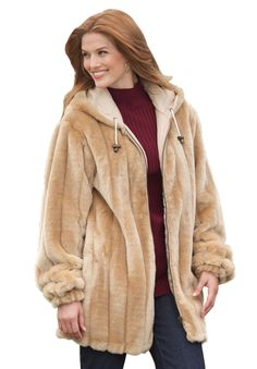"""Cold Remedies"" Find the perfect jacket this fall and winter. There are some many different styles and ways to keep warm during the cold season. Try our Mircofiber Down Parka, Woman Within's Faux Shearling Swing Coat (Pictured), Trench Coat and or Jessica London's Belted Boucle Coat. #OneStopPlus #Coats #Jackets #PlusSize"