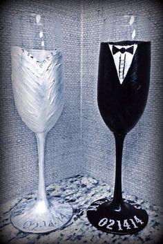 Set of 2 wedding champagne glasses on Etsy, $32.00 bridal gift bridal shower wedding present diy crafts bride groom