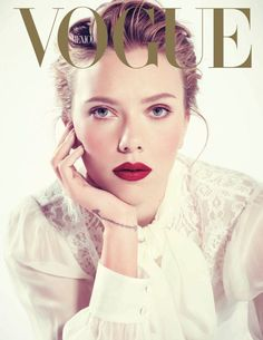 Vogue cover, sheer white blouse, lace, red lips, chignon, wrist tattoo