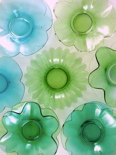 green and blue vintage dishes