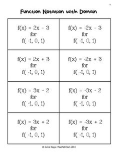 Function Matchup!  In this activity, students match 8 functions to the appropriate   Function notation set-up  Function notation solved   Table   Graph  Mapping  And set notation using domain and range.    Answers are located on corresponding areas on all 6 pages      Easily differentiate the activity by how many pages you choose to include in the activity. I suggest copying each page on a different color so that you can easily make sure that only one color is in each match up.