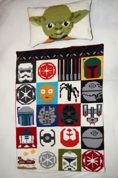 Star Wars cross stitch blanket. #Yoda #Lucas knit patterns adapted/created by kiddyamunda craft, crossstitch, stars, starwar, star wars, baby blankets, crosses, cross stitches, pillows