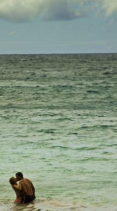 romanc, a kiss, beach couples, couple in water, the ocean, at the beach, sea, couple on beach, kisses
