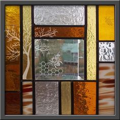 Honey Bee Hive Abstract Geometric  Stained by stainedglassfusion, $89.00