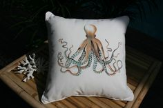 Spring Giveaway – The Octopus Cushion  plumeria coastal home