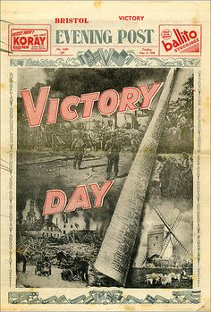 Victory in Europe 1945    The special edition of the Bristol Evening Post of the 8th May 1945. An original newspaper.