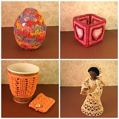 Special Gifts on Sale at #HeritageHeartcraft! ~ Easter Egg decoration, handmade fine crochet cover over a large glass egg, soft rainbow colors, about 4 inches tall. ~ Heart Votive Candle, crochet cover over glass square candle holder, light to dark pinks, about 3 inches tall. ~ Peach Cable Coffee cup cozy and matching tea bag holder. ~ Layla Delta Lace Angel, in ivory, about 6 inches tall. thread crochet gifts