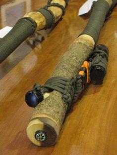 Survival hiking sticks. $59.95, via Etsy. I think I'm going to make my own.