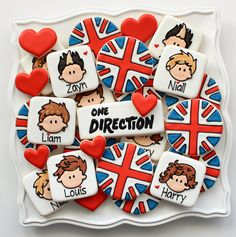 Cute idea. I love the union jacks    One Direction Cookies by SweetSugarBelle, via Flickr