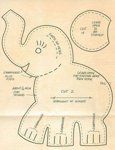 Stuffed Elephant Pattern. Note: thing in top right is for both ears not tail as implied by misleading arrow.