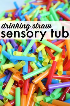 A colorful sensory tub made with drinking straws!  So many fun possibilities!