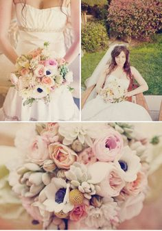 The bridal bouquet will be a shade paler than the bridesmaids, a loose clutch bouquet of blush pink peonies, blush pink garden roses, white anemones, pale gray-green succulents, yellow craspedia, blush pink garden roses, cream dahlias, and blush pink ranunculus wrapped in lace.