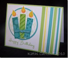 3 Candlelights lime turquoise yellow birthday white card