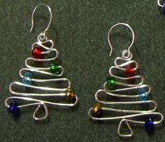 Wire Christmas Tree earrings/ornaments - you can download the tutorial or scroll down the page and check out the pictures as inspiration